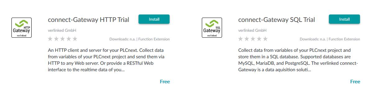 Die HTTP Edition ist neben der SQL-Edition im PLCnext Store verfügbar.